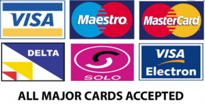 All major payment cards accepted